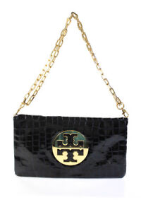 Tory Burch Patent Leather Gold Tone Logo Clutch Crossbody Handbag Navy Blue
