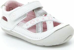 STRIDE RITE Soft Motion Kiki White Light Pink Flowers Toddler Girl's Sz 4M
