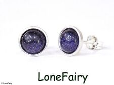 Solid 925 Sterling Silver Blue Goldstone Round Stud Earrings Gemstone 7mm