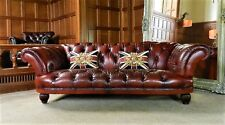 TETRAD GRAND TOUR OSKAR CONKER BROWN LEATHER CHESTERFIELD 3/4 SEATER CLUB SOFA