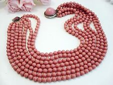Vintage Jewelry Bijoux Sander Coral Pink Glass Necklace Seven Strand