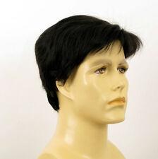Perruque homme 100% cheveux naturel noir ref FRANCOIS 1b