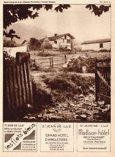 ST JEAN DE LUZ FERME HOTEL FLOTS BLEUS ANGLETERRE MADISON PUBLICITE 1932 AD