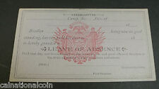G.A.R. Delegate Membership Card Form No. 5 Leave of Absence Card