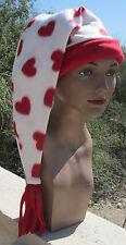 white cap HEARTS red ADULT HAT sleeping night 100% COTTON fleece nightcap ladies