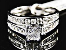 White Gold Ladies Bridal Engagement Wedding Band Princess Diamond Ring Set 1 Ct