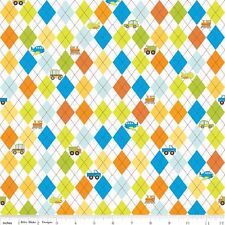On the Go White Argyle by Bo Bunny for Riley Blake, 1/2 yard 100% cotton fabric