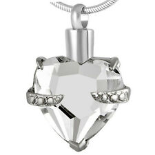 Cremation Ashes Jewellery Urn Keepsake Necklace Urn White Crystal Heart Pendant