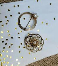 Vintage Pearl Circle Pin  Gold Filled Brooch - Vtg Brooch - Signed Geri