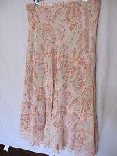 RESORT REPORT skirt red-orange, light orange, powder blue paisley pattern sz 12