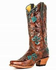 CorralBootsWhiskey/Turquoise Three Cross Cowgirl Boots R1019 Sz 5.5 $169.99
