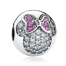 Stunning 925 Silver Minnie Pave Clip Charm With Pink Cubic Zirconia Studs