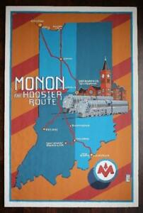 ONE-OF-A-KIND Indianapolis to Gary Indiana Monon Railroad Poster artwork-BEAUTY!
