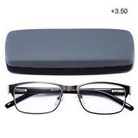 Reading Glasses Readers Metal Rectangular Business Office Supplies Men Case 3.50