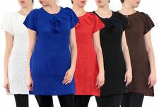 Robe Tricot Femme Manches Courtes Laine Pull Maille Vêtement Chaud Hiver