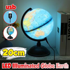 20cm Earth Globe Illuminated Rotating World Map Night Light Table LED Desk