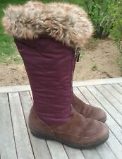 LANDS END KNEE HIGH WINTER SNOW BOOTS US 7.5 SHOES PURPLE SUEDE LEATHER EURO 38