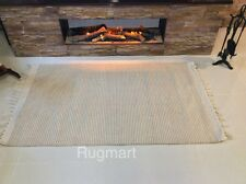 Striped NATURAL Cotton Jute Hand loomed Cream Beige Washable Rug Durries -40%OFF