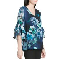 CALVIN KLEIN Women's Navy Floral Ruffle-sleeve V Neck Blouse Shirt Top M TEDO