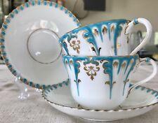 Art Nouveau Tea Cups & Saucers Antique Pair; For Whiteleys London