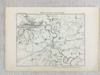 1881 Antique Military Map of Torgau Saxony Passau Germany The River Elbe Danube