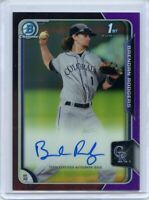 2015 Bowman Chrome Draft Brendan Rodgers Purple Refractor Auto 64/250 RC Rockies