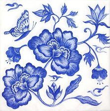 3 x Single SMALL Paper Napkins For Decoupage Craft Blue White Flowers S075