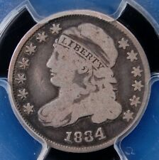 """1834 CAPPED BUST DIME LARGE 4 PCGS VG08 VERY SATISFYING """"CIRC CAM"""" LOOK"""