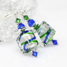 Emerald Cobalt Venetian Murano Glass Earrings, Artisan, Lampwork Cube Earrings