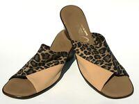Onex Women's Size 9 Wedge Sandal Slide Slip On Leopard Print Stretchy Comfy