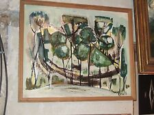 """Superbe Acrylique sur panneau Paysage de Forêt """" Raphael Arnal """" 1976.."""