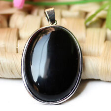 Huge Fashion Jewelry Gift Black Onyx Gemstone Vintage Silver Necklace Pendants