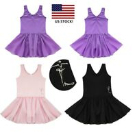 US Girls Ballet Dance Dress Shiny Dancer Leotard Gymnastics Dancewear Costume