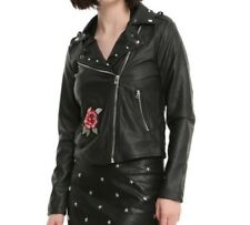 GOTHIC FAUX LEATHER STUDDED ROSE EMBROIDERED MOTORCYCLE ZIPPER JACKET XL NWT