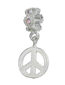 Clear Iridescent AB Rhinestone Peace Sign Charm fits European Bead Bracelets