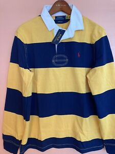 NWT Polo Ralph Lauren Navy Yellow Striped Iconic Rugby Color Block Shirt XXL