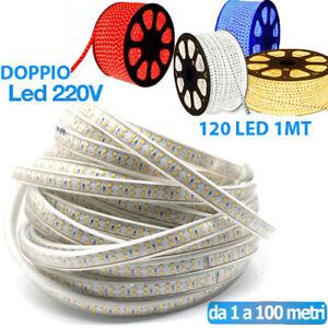 STRISCIA LED STRIP DOPPIO LED 5050 3014 INTERNO ESTERNO 220V BOBINA 1MT A 100 MT