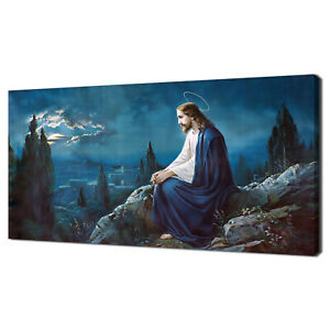 JESUS IN THE GETHSEMANE OLIVE GARDEN RELIGIOUS CANVAS PRINT WALL ART PICTURE
