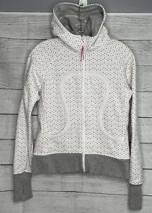 Lululemon Athletica Women's Gray White Full Zip Hooded Jacket Size 6