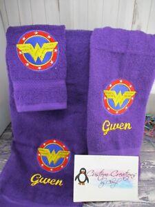 Wonder Woman Circle Logo Personalized 3 Piece Bath Towel Set  Super Hero
