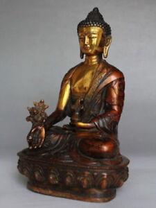 Tibetan Brass Buddhism Bodhisattva Buddha Archaic bhagavan Bhaisajya Statue