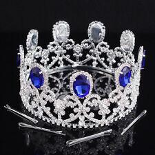 3'' Prom Silver King Queen Sapphire Crystal Tiaras Rhinestone Crown Bridal Tiara
