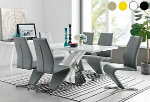 ATLANTA High Gloss Chrome Dining Table Set and 6 Faux Leather Chairs Seat