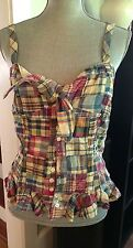 NWT RALPH LAUREN RUGBY MULBERRY PLAID 100% COTTON BUTTONED HALTER TOP ~ SIZE 8