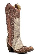 Corral Women's Laser Overlay Boots - Sand/Cognac Size 9 - NEW