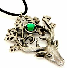 Greenwood Stag Lord Amulet Pendant Necklace Pewter Green Crystal GW08