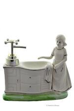 Ceramic Girl Statue Italian Antique Vanity Soap Lotion Dispenser & Sponge Holder