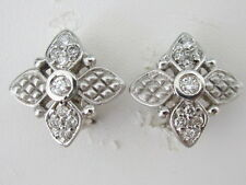Stylish 14k. Solid White Gold Star Diamond Earrings