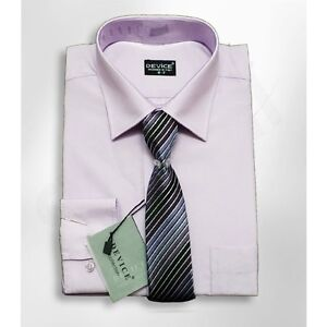 Boys Lilac Formal Kids Shirt And Tie Set Page Boy Wedding Prom Device Suit Shirt