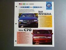 "Buick Riviera vs Volvo C70 ""Head to Head"" IMP ""Hot Cars"" Spec Sheet Folder RARE!"